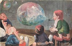 four dwarves sit admiring soap bubble blown from pipe of another dwarf standing right