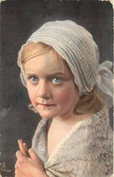 HERZBLATTCHEN   girl faces left, looks front & up, wears white lace bonnet, hands together