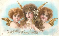 TO WISH YOU A HAPPY NEW YEAR three angels with golden wings
