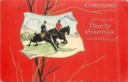 inset at left of card of huntsman & huntswoman riding right fast, red background,