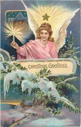 CHRISTMAS GREETINGS angel holding light above rural snow scene
