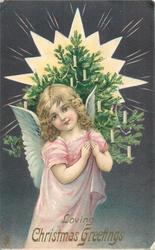LOVING CHRISTMAS GREETINGS  angel carries Xmas tree over her left shoulder, radiant star behind