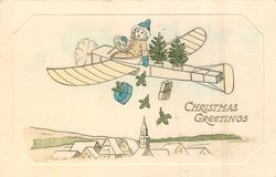 CHRISTMAS GREETINGS girl drops presents from fantasy aeroplane