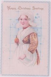 HAPPY CHRISTMAS GREETINGS, Dutch girl stands with flower in front of Delft panel