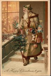 A HAPPY CHRISTMAS  TO YOU brown coated santa walks front looking left carrying tree & many presents