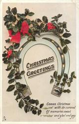CHRISTMAS GREETINGS  COMES CHRISTMAS WITH ITS CORONAL OF MEMORIES SWEET, AND GLAD AND GAY