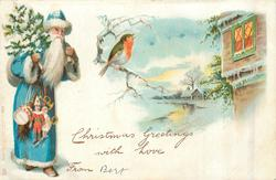 CHRISTMAS GREETINGS WITH LOVE blue coated santa with tree & toys walks front/right, robin, rural scene