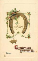 GOOD FORTUNE  horseshoe & gilt pig