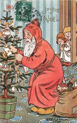 Santa puts toy on tree, golly in sack, two children peek
