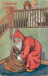 CHRISTMAS GREETING disconcerted Santa looks at huge stocking, two children peek over covers