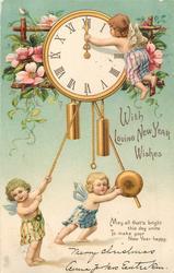 WITH LOVING NEW YEAR WISHES  3 cherubs reset elaborate clock