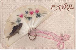 applique fan depicting fish & clover ribbon & mettalic ring