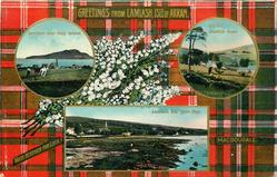 3 insets  LAMLASH AND HOLY ISLAND and ON THE BRODICK ROAD and LAMLASH BAY FROM PIER; MACDOUGAL tartan