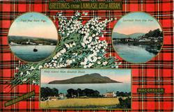 3 insets  EAST BAY FROM PIER and LAMLASH FROM THE PIER and HOLY ISLAND ISLAND FROM BRODICK ROAD; MACGREGOR  tartan