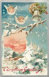 CHRISTMAS GREETINGS  heads of two angels upper left, bell upper right, snow scene below