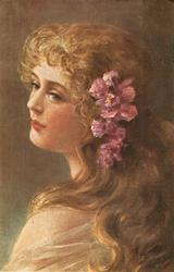girl faces away & left, flowers in her hair