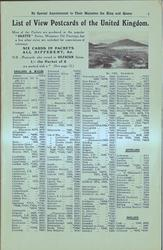 LIST OF VIEW POSTCARDS OF THE UNITED KINGDOM