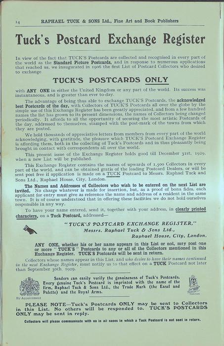 TUCK'S POSTCARD EXCHANGE REGISTER