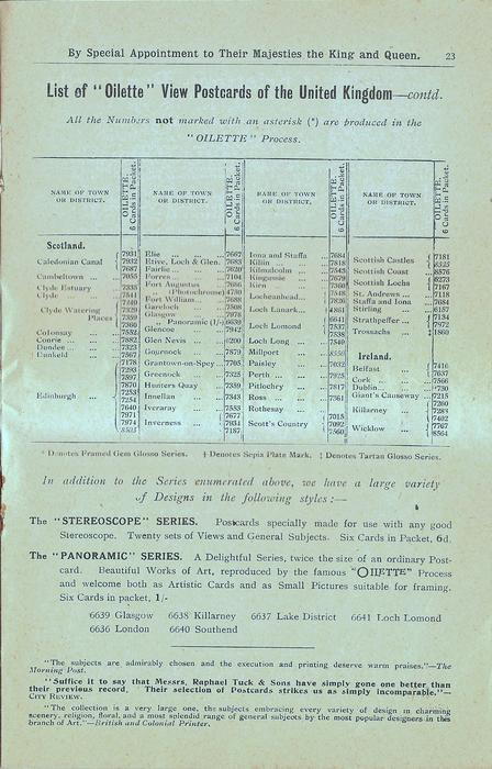 "LIST OF ""OILETTE"" VIEW POSTCARDS OF THE UNITED KINGDOM - CONTD."