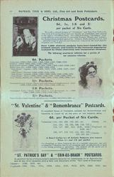 "CHRISTMAS POSTCARDS, ""ST. VALENTINE"" & ""REMEMBRANCE"" POSTCARDS, ""ST. PATRICK'S DAY"" & ""ERIN-GO-BRAGH"" POSTCARDS"