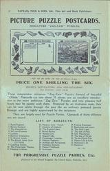 PICTURE PUZZLE POSTCARDS, PRICE ONE SHILLING THE SIX