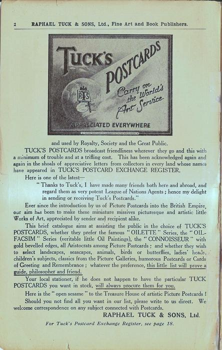 TUCK'S POSTCARDS engraved in set over informational advert about TUCK'S POSTCARDS