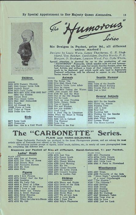 """THE """"HUMOROUS"""" SERIES, THE """"CARBONETTE"""" SERIES"""