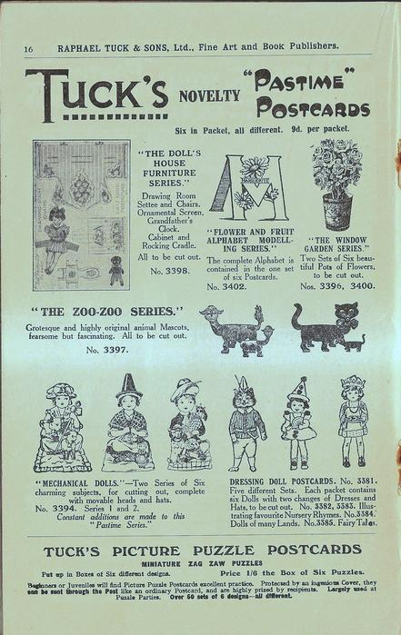 "TUCK'S NOVELTY ""PASTIME"" POSTCARDS, TUCK'S PICTURE PUZZLE POSTCARDS, MINIATURE ZAG ZAW PUZZLES"