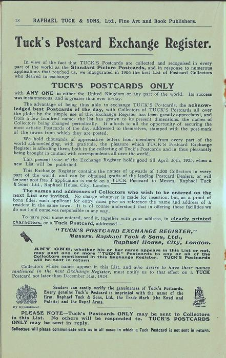 TUCK'S POSTCARD EXCHANGE REGISTER