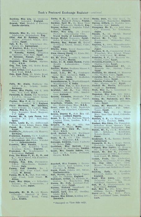 3rd additional page inside SUPPLEMENTARY LIST OF NAMES TO: TWENTY-FIRST TUCK'S POSTCARD EXCHANGE REGISTER