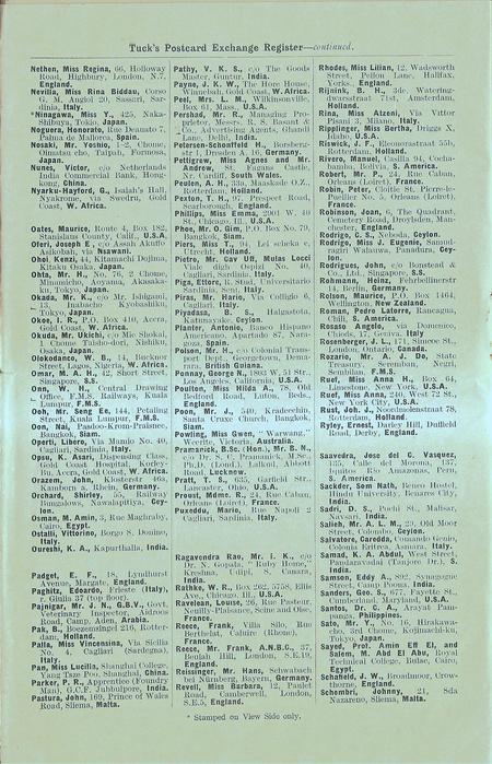 6th additional page inside SUPPLEMENTARY LIST OF NAMES TO: TWENTY-FIRST TUCK'S POSTCARD EXCHANGE REGISTER