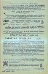 """Spanish REGISTRO DE CAMBIOS PARA LOS COLLECCIONISTAS DE TARJETAS POTSTALES """"TUCK"""""""