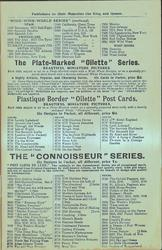 "THE PLATE-MARKED ""OILETTE"" SERIES, PLASTIQUE BORDER ""OILETTE"" POST CARDS"