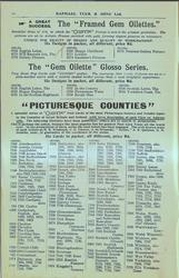 "THE ""FRAMED GEM OILETTES"", THE ""GEM OILETTE"" GLOSSO SERIES, ""PICTURESQUE COUNTIES"""
