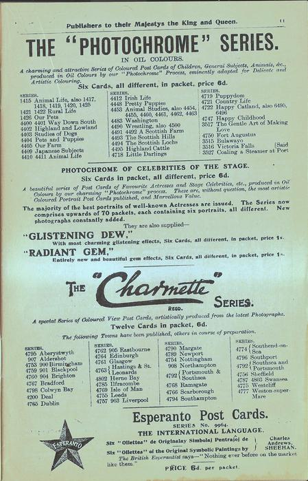 "THE ""PHOTOCHROME"" SERIES, THE ""CHARMETTE"" SERIES, ESPERANTO POST CARDS"