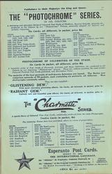 "THE ""PHOTOCHROME"" SERIES, THE ""CHARMETTE"" SERIES, ESPERANTO POST CARDS"