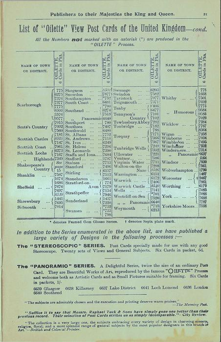 """LIST OF """"OILETTE"""" VIEW POST CARDS OF THE UNITED KINGDOM - COND."""
