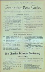 CORONATION POST CARDS, THE CHARLES DICKENS CENTENARY 1812-1912