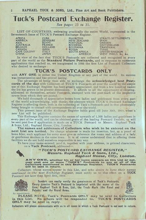 TUCK'S POSTCARD EXCHANGE REGISTER, SEE PAGES 23 TO 31
