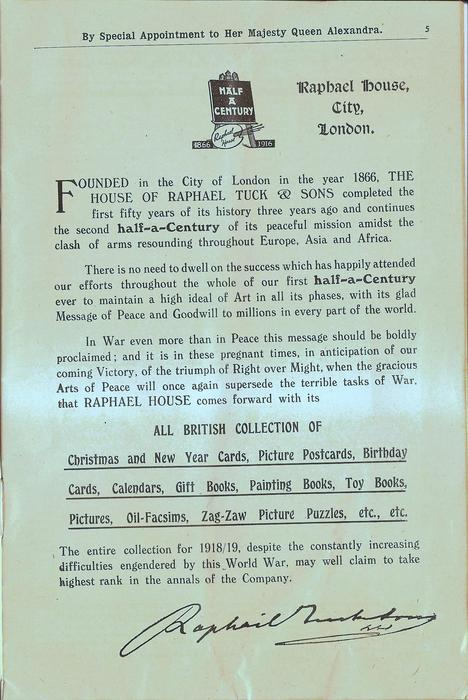 HALF A CENTURY, 1866 - 1916, RAPHAEL HOUSE, CITY, LONDON