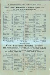 "LIST OF ""OILETTE"" VIEW POSTCARDS OF THE UNITED KINGDOM - CONTD., VIEW POSTCARDS - GREATER LONDON"