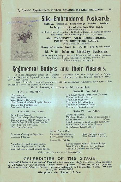 SILK EMBROIDERED POSTCARDS, REGIMENTAL BADGES AND THEIR WEARERS, CELEBRITIES OF THE STAGE