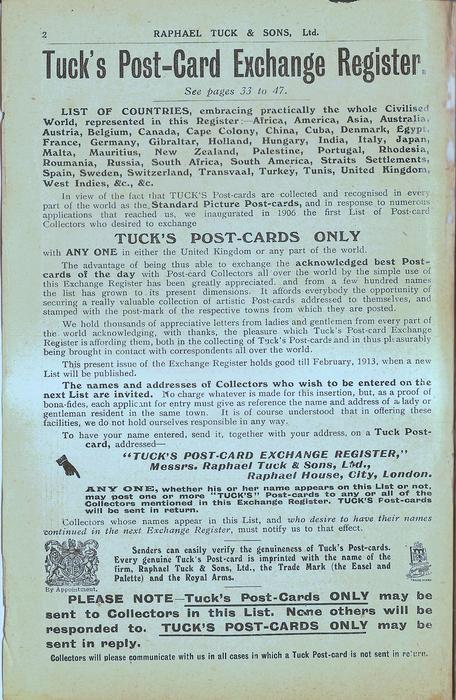 TUCK'S POST-CARD EXCHANGE REGISTER, SEE PAGES 33 TO 47