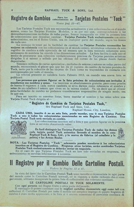 """Spanish REGISTRO DE CAMBIOS PARA LOS COLLECCIONISTAS DE TARJETAS POTSTALES """"TUCK"""", VEASE PAG. 33-47"""