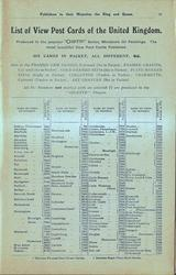 LIST IF VIEW POST CARDS OF THE UNITED KINGDOM