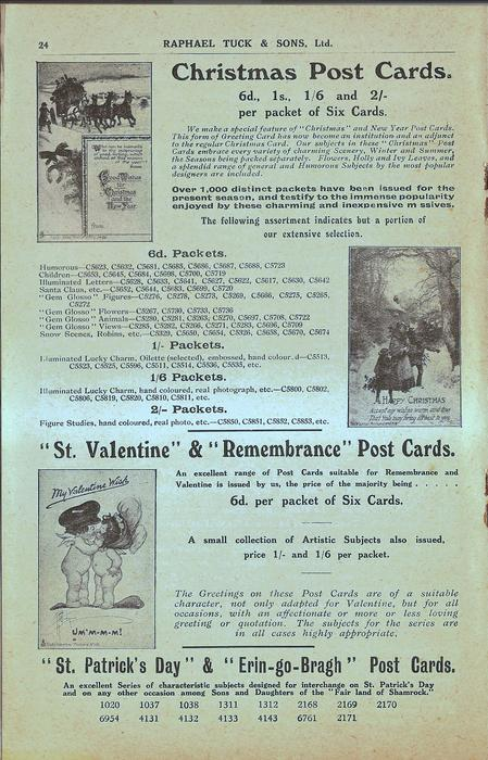 """CHRISTMAS POST CARDS, """"ST. VALENTINE"""" & """"REMEMBRANCE"""" POST CARDS, """"ST. PATRICK'S DAY"""" & """"ERIN-GO-BRAGH"""" POST CARDS"""
