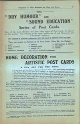 """THE """"DRY HUMOUR"""" AND """"SOUND EDUCATION"""" SERIES OF POST CARDS, HOME DECORATION WITH ARTISTIC POST CARDS"""
