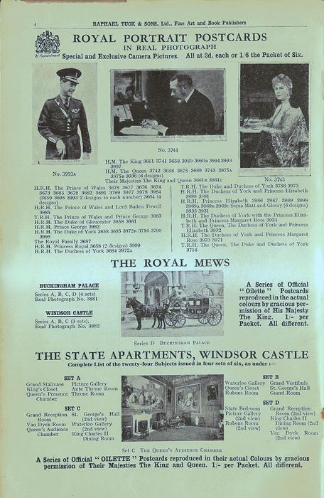 ROYAL PORTRAIT POSTCARDS, THE ROYAL MEWS, THE STATE APARTMENTS, WINDSOR CASTLE