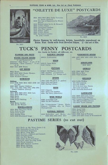 """OILETTE DE LUXE"" POSTCARDS, TUCK'S PENNY POSTCARDS, PASTIME SERIES (TO CUT OUT)"