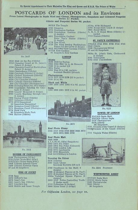 POSTCARDS OF LONDON AND ITS ENVIRONS
